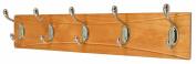 5 Heavy Duty Brass Hooks on Decorative Wooden Board Coat Rack Hanger