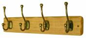 4 Decorative Ball End Hooks Antique Brass on Rustic Light Wooden Board Coat Rack Hanger