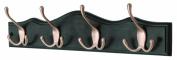 4 Tri Hooks Satin Nickel on Black Single Scallop Wooden Board Coat Rack Hanger