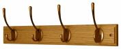 4 Victorian Antique Brass Hooks on Oak Wooden Board Coat Rack Hanger
