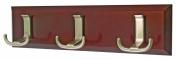 3 Jumbo Nickel Hooks on Chunky Dark Wooden Board Coat Rack Hanger