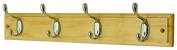 4 Heavy Duty Chrome Hooks on Wooden Board Coat Rack Hanger