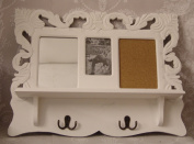 Shabby Chic White Ornate Wall Unit with mirror Pin Board and Coat hooks