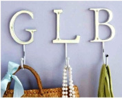 White Distressed Metal Coat Hook - Letter X - ideal for hanging Jewellery , scarfs , coats and hats