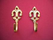 Brass Fleur De Lys Curtain Tie Back Hold Back Hooks x 2