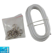 BRAND NEW - 2.5 M CURTAIN WIRE AND HOOKS SET - IDEAL USE FOR DOOR, CARAVANS