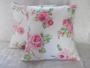 5.1cm x 41cm OFF-WHITE GREEN PINK & BLUE SHABBY CHIC CUSHION COVERS