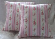 5.1cm x 41cm OFF WHITE PINK BLUE GREEN FLORAL STRIPE CUSHION COVERS