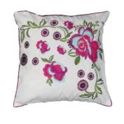 Martinique Floral Embroiderey Cushion Cover, Cream/Magenta, 45 x 45 Cm