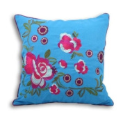 Martinique Floral Embroiderey Cushion Cover, Kingfisher/Magenta, 45 x 45 Cm
