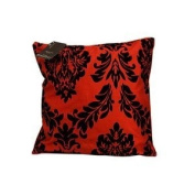 1x Designer Flock Arena Red/ Black Faux Silk Print Cushion Cover Size 46cm x20cm (1412) By Massimo