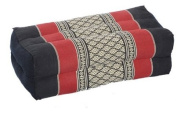 Pillow Block 35x15x10cm, kapok-filled, Support Cushion for Yoga and Meditation, Traditional Thai Design burgundy & black