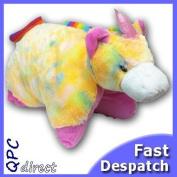 Animal Pillow/Cushion - RAINBOW UNICORN - fold up huggle pet pal