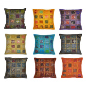 Indian Vintage Home Decor Cotton Cushion Cover With Embroidery & Patchwork, 41 X 41 Cm, 10 Pcs Lot