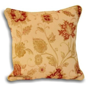 Zurich Floral Chenille Jacquard Piped Cushion Cover, Champagne, 45 x 45 Cm