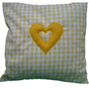Yellow Gingham with Daisies & Heart Shabby Chic Cushion Cover