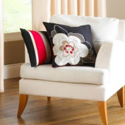Kyoto Floral Embroidered Boudoir Cushion Cover, Black, 30 x 50 Cm