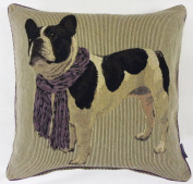 Frenchie French Bulldog Piped Cushion Cover, Purple, 45 x 45 Cm