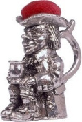 Great Gifts UK- Toby Jug Pewter Pin Cushion - H:45mm / Dia:25mm