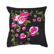 Martinique Floral Embroiderey Cushion Cover, Black/Magenta, 45 x 45 Cm