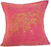 41cm Elephant Cotton Cushion Cover Aari Zari Pink
