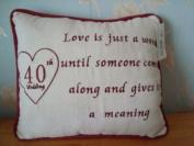 Wedding Anniversary Celebration Gift Cushion Ruby 40th Years
