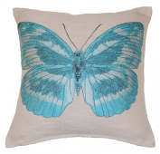 Papillon Embroidered Butterfly Cushion Cover 45x45cm (18inch) Aqua