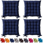 """4 x Dark Blue Padded Seat Cushions With Ties 40x40x5cm """"The Today Range"""""""
