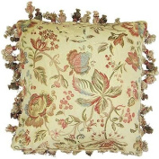 Paoletti Florence Jacquard Woven Embroidered Tasselled Cushion Cover, Cream, 58 x 58 Cm