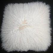 Genuine Mongolian Sheepskin Cushion Ivory