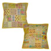 2 Pcs Indian Ethnic Design Patchwork Cotton Cushion Cover Vintage Home Décor, 43 X 43 Cm