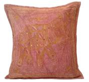 41cm Elephant Cotton Cushion Cover Aari Zari Brown