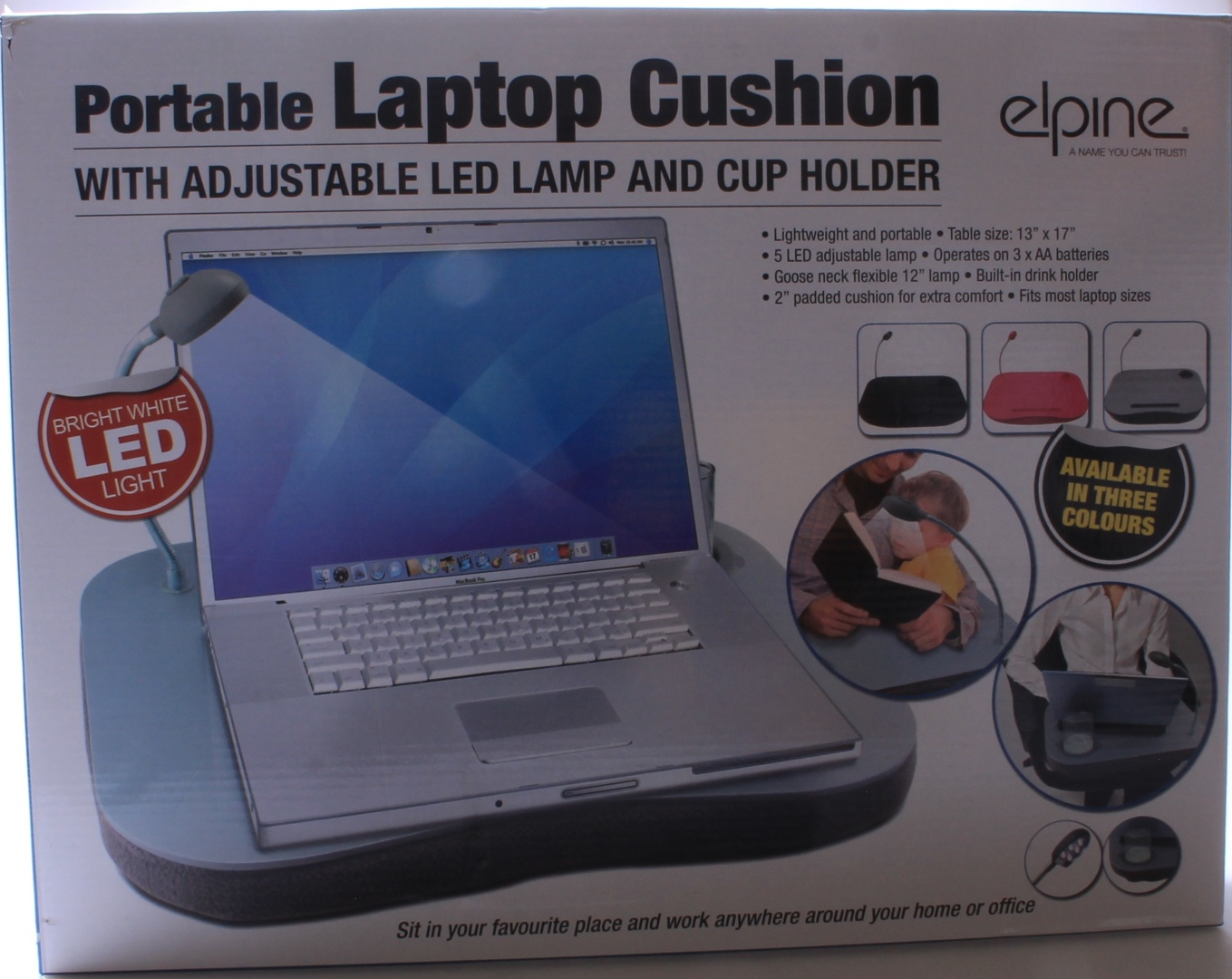 Pink Multifunction Lap Tray Cushion Portable Laptop Table W 5 Led Lamp Cup Holder