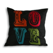 Circus Love Embroidered Cushion Cover, Black, 45 x 45 Cm