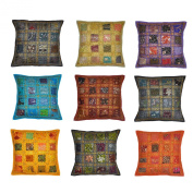 Indian Handmade Cotton Home Furnishing Cushion Cover with Sequins & Patchwork, 41 X 41 Cm, 10 Pcs Lot