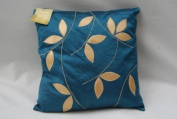 10cm X 43cm Teal Embroidered Gold Faux Silk Cushion Covers