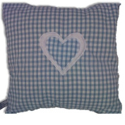 Pale Blue Gingham with White & Gingham Heart Cushion Cover