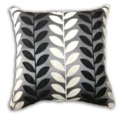 Panama Chenille Leaf Cushion Cover, Black, 43 x 43 Cm
