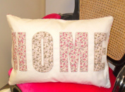 100% Cotton Cusion Cover with HOME in pink floral design 35cm x 50cm
