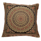 38cm Mandala Brocade Faux Silk Cushion Cover Black