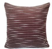 "16"" 40cm Hand Woven Fancy Yarn Cotton Cushion Cover Brown"