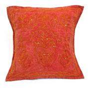 41cm Assorted Animal Cotton Cushion Cover Aari Zari Red