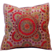 41cm Mirror Coloured Embroidery Cotton Cushion Cover Beige