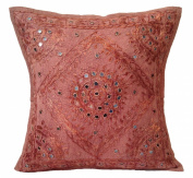 41cm Mirror Embroidery Cotton Cushion Cover Brown