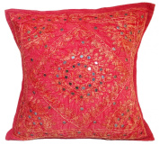 41cm Mirror Embroidery Cotton Cushion Cover Red