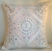 41cm Mirror Embroidery Cotton Cushion Cover White