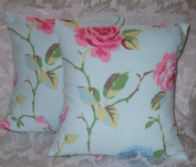 5.1cm x 41cm DUCK EGG PINK & GREEN FLORAL SHABBY CHIC CUSHION COVERS