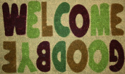 STC Hand Tufted Coir Door Mat with Anti-slip Backing, Welcome And Goodbye Design, 45x75cm+