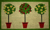 STC Hand Tufted Coir Door Mat with Anti-slip Backing, Topiary Pots Design, 45x75cm