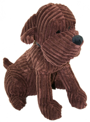 Take Me Home Cute Dog Door Stop - Chunky Cord Ribbed Dog 32Cm - Chocolate